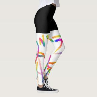 Polainas - blanco del negro con colores leggings