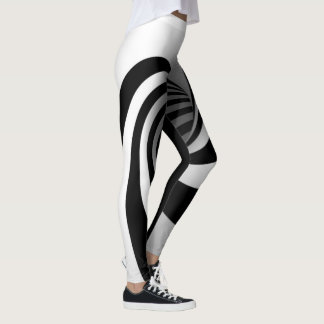 Polainas blancos y negros del embudo de la leggings