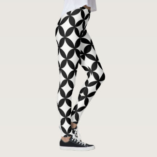 Polainas blancos y negros geométricas del modelo leggings