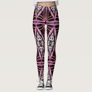 Polainas blancos y negros rosadas del diseño de leggings