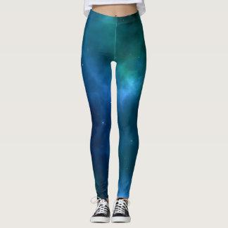 Polainas brumosas de medianoche verde azuladas del leggings