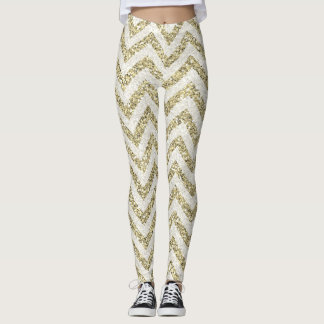 Polainas de Chevron del brillo del oro Leggings