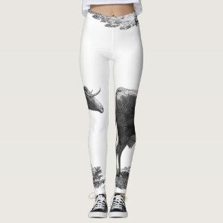 Polainas de la aguafuerte de la vaca del vintage leggings