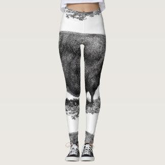 Polainas de la aguafuerte del cerdo del vintage leggings