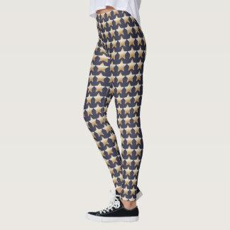 Polainas de la estrella del oro de la marina de leggings
