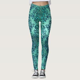 Polainas de la impresión del damasco del verde leggings