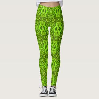 Polainas de la piel de serpiente verde leggings