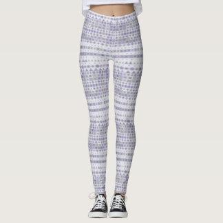 Polainas de las rayas de la lavanda y del blanco leggings