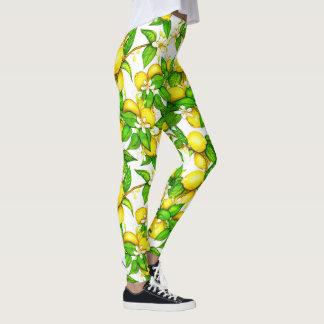 Polainas de moda de la impresión del limón leggings