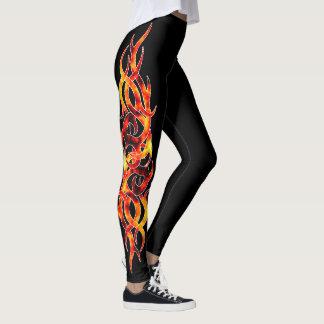 "Polainas del efecto del tatuaje de la ""llama leggings"
