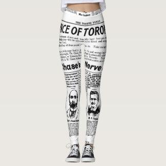 Polainas del periódico del vintage de la gente de leggings