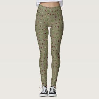 Polainas del verde verde oliva y del rojo leggings