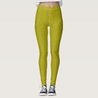 Polainas del zigzag del verde amarillo leggings