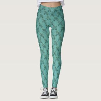 Polainas florales azules/del verde leggings