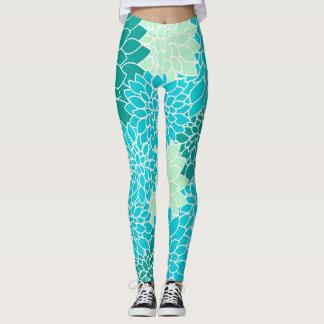 Polainas florales bohemias del verde azul de la leggings