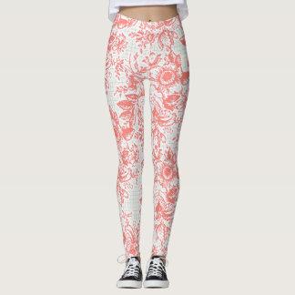 Polainas florales del vintage rosáceo leggings