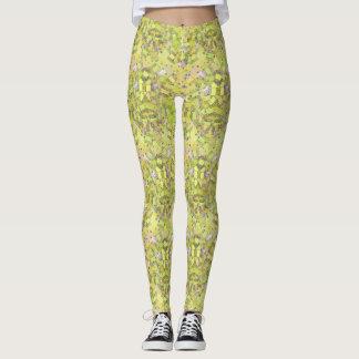 Polainas geométricas verdes y amarillas de las leggings