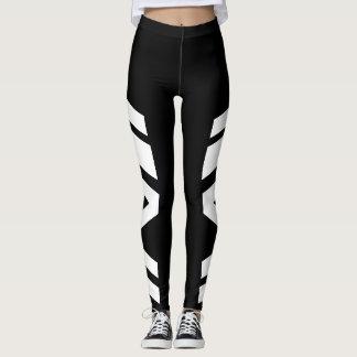Polainas negras/blancas de la banda lateral leggings