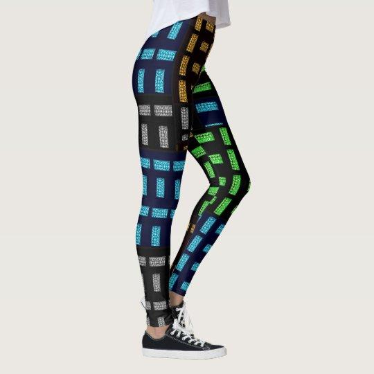 Polainas negras con el modelo multicolor, M (8-10) Leggings