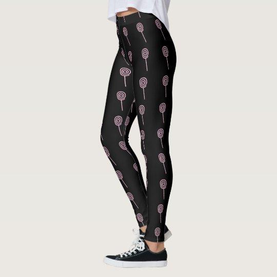 Polainas negras de las mujeres rosadas de los leggings