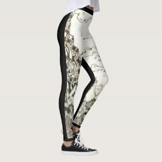 Polainas negras y blancas del bosquejo leggings