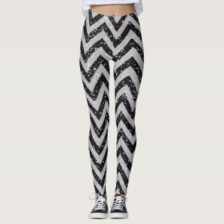 Polainas negras y grises de Chevron del brillo Leggings