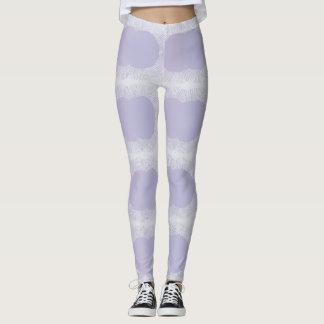 Polainas orgánicas púrpuras y blancas de la leggings