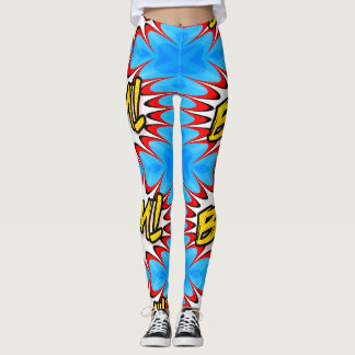 polainas para mujer de la explosión cómica azul leggings