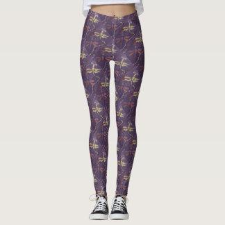 polainas púrpuras de la libélula leggings