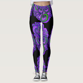 Polainas púrpuras de Paisley Leggings