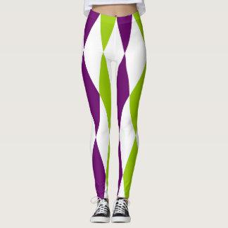 Polainas púrpuras y verdes del diseño del diamante leggings