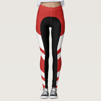 Polainas rojas/blancas/negras de la banda lateral leggings