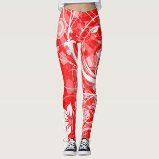 polainas rojas con las flores blancas y los leggings