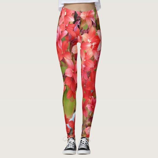 Polainas rojas de la flor leggings