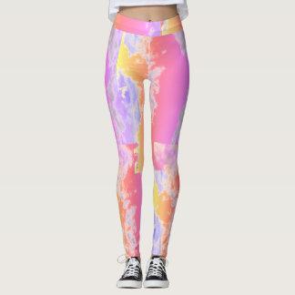 Polainas rosadas abstractas del modelo leggings