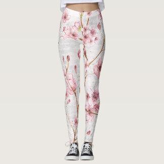 Polainas rosadas de la flor de cerezo leggings