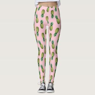Polainas rosadas de las piñas tropicales del leggings