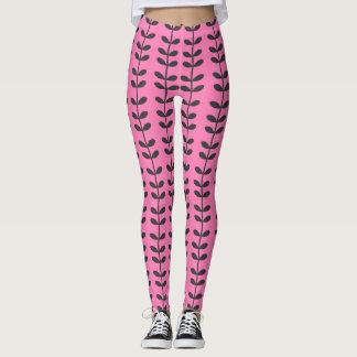 Polainas rosadas del modelo de la vid leggings