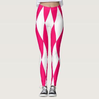 Polainas rosadas y blancas de los diamantes leggings