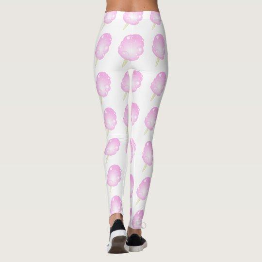 Polainas rosadas y blancas del caramelo de algodón leggings