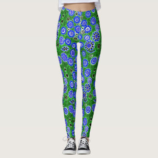 """Polainas salvajes"" de las flores (azules) - Leggings"