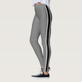 Polainas simples del blanco/de la raya negra leggings
