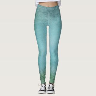 Polainas texturizadas Grunge del verde azul Leggings
