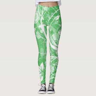 polainas verdes con las flores blancas y los leggings