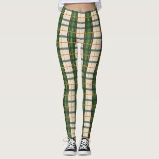 Polainas verdes de la tela escocesa de Creme'N Leggings