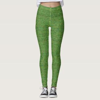 Polainas verdes de las hojas de los árboles de la leggings