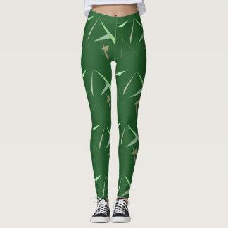 Polainas verdes de los triángulos de la hoja leggings