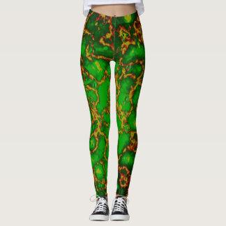 Polainas verdes del fractal del Grunge Leggings