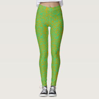 Polainas verdes y amarillas de los salpicones leggings