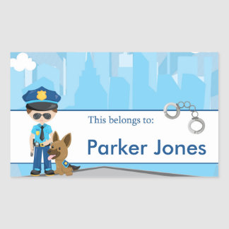 Policía de nuevo a etiquetas personalizadas pegatina rectangular